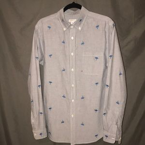Men's casual button down with flamingos
